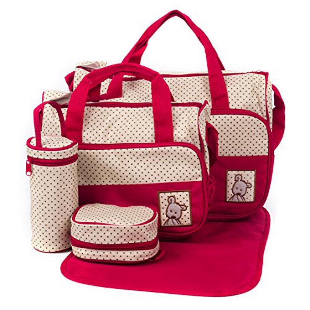 5pcs/set Nappy Baby Diaper Bag Travel Diaper Tote Bag Handbag Diaper Bag for Mummy and Dad (Coffee) Kissfairy