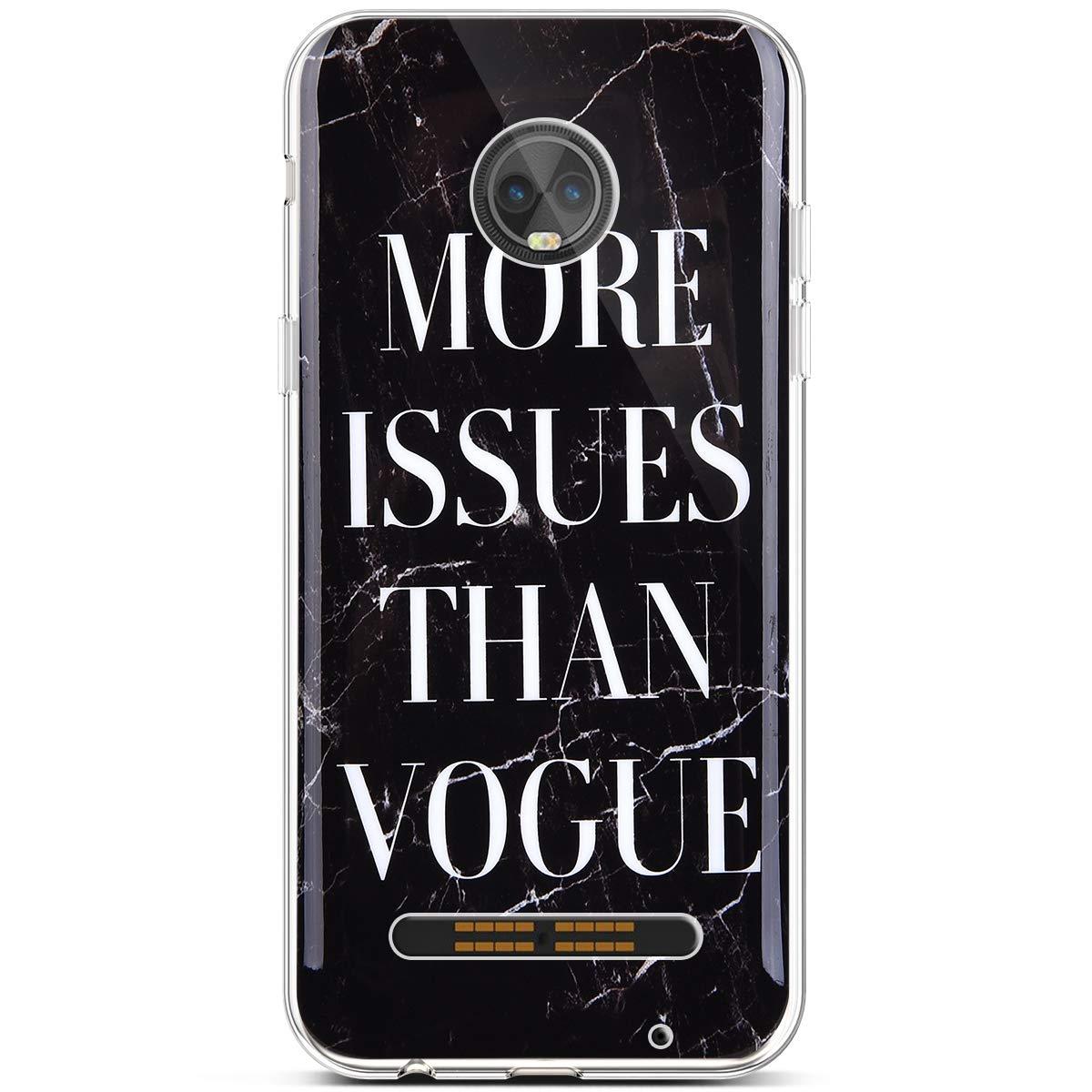 2 PHEZEN Moto Z3 Case,Moto Z3 Play Case,Fashion Marble Design Girl Women Soft Flexible Slim Thin TPU Rubber Skin Shockproof Transparent TPU Bumper Cover Protective Silicone Case for Moto Z3 Play