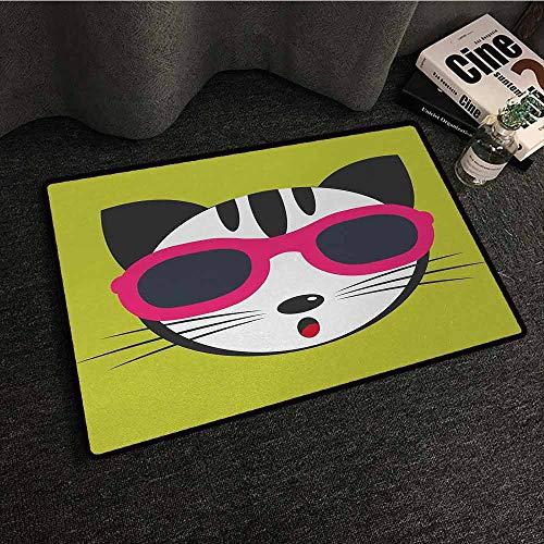 DILITECK Non-Slip Door mat Animal Cute Kitten Wearing Pink Sun Glasses Cool Modern Hipster Cat Fashion Fun Pets Art Print Super Absorbent mud W20 xL31 Multi