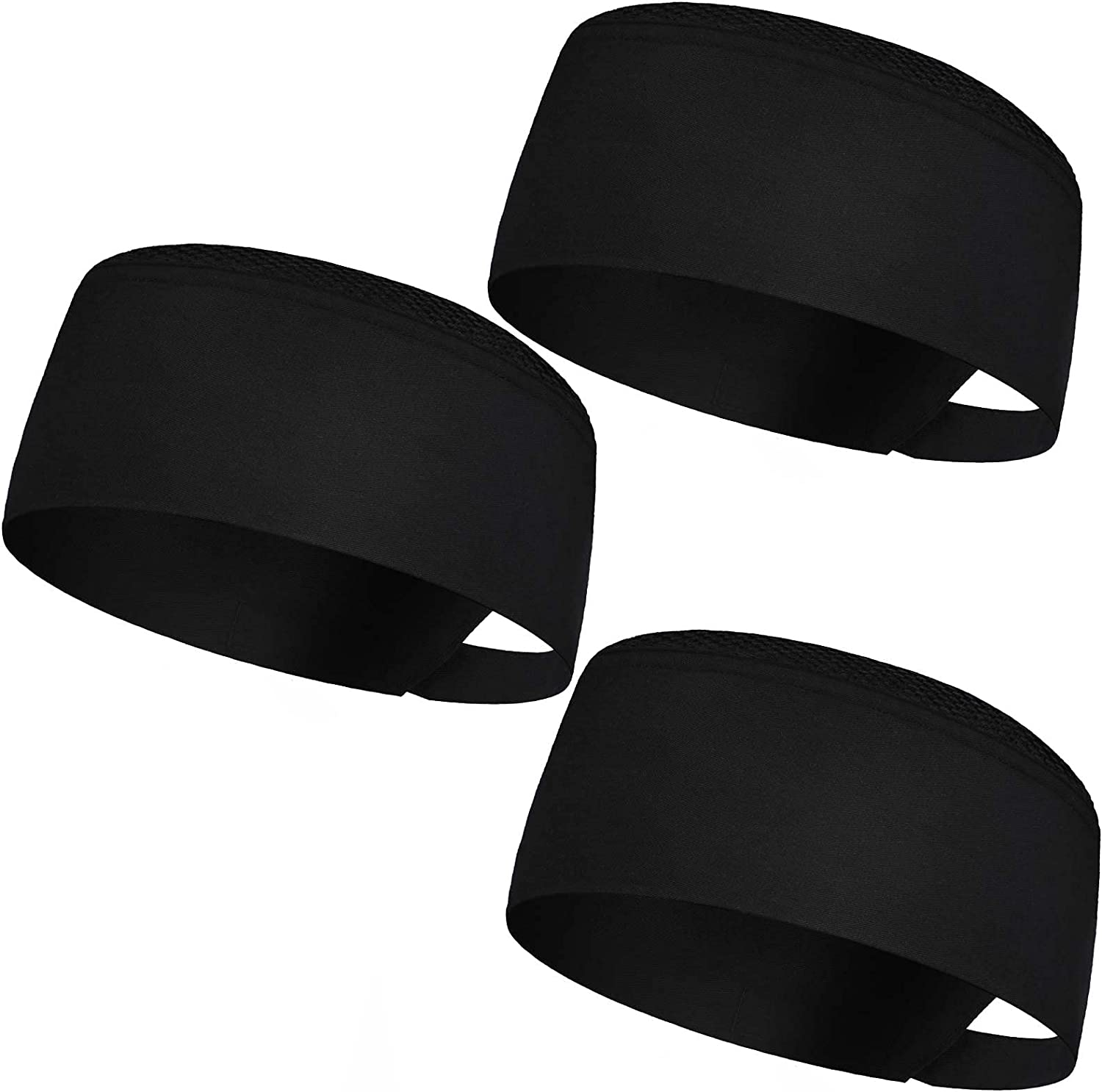 3 Pieces Unisex Chef Hats Kitchen Cooking Food Service Caps with Elastic for Adults Black
