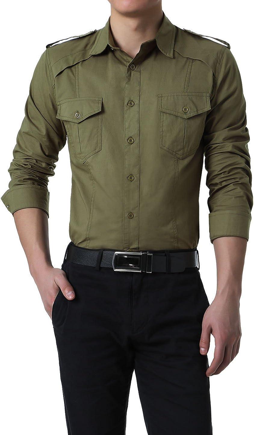 Allegra K Camisa De Mangas Largas para Hombres Estilo Militar con Botones - Verde Militar/L (US 42), L (EU 52): Amazon.es: Ropa y accesorios