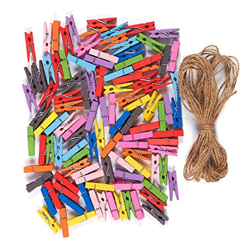 Mini Natural Wooden Clothespins - 100-Piece Small Colorful Clothespins with Jute Twine - Colored Wood Peg Pins Ideal for Crafts, Photo Paper Clips, Home Decoration - Multicolored,1.4 inches in ()