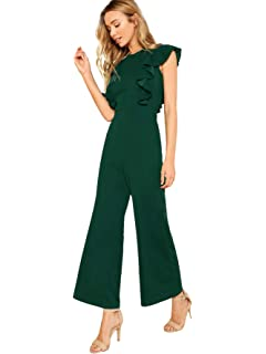 3935680cadf Romwe Women s Sexy Casual Sleeveless Ruffle Trim Wide Leg High Waist Long  Jumpsuit