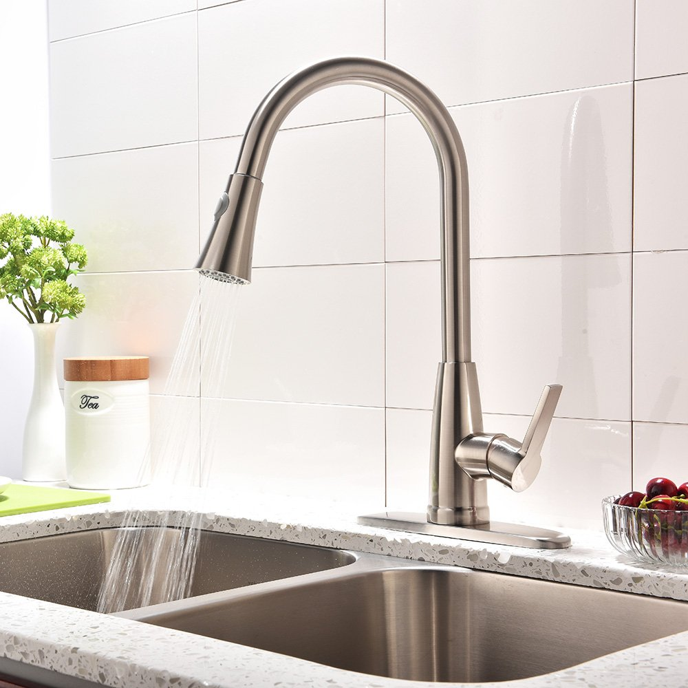 Stainless Steel Single Handle Brushed Nickel High Arc Pull Out Sprayer Kitchen Sink Faucet