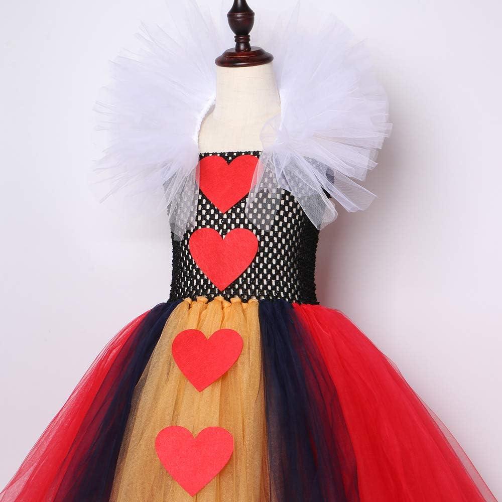 3 pc Red Queen Hearts Alice Wonderland Fancy Dress Up Halloween Child Costume