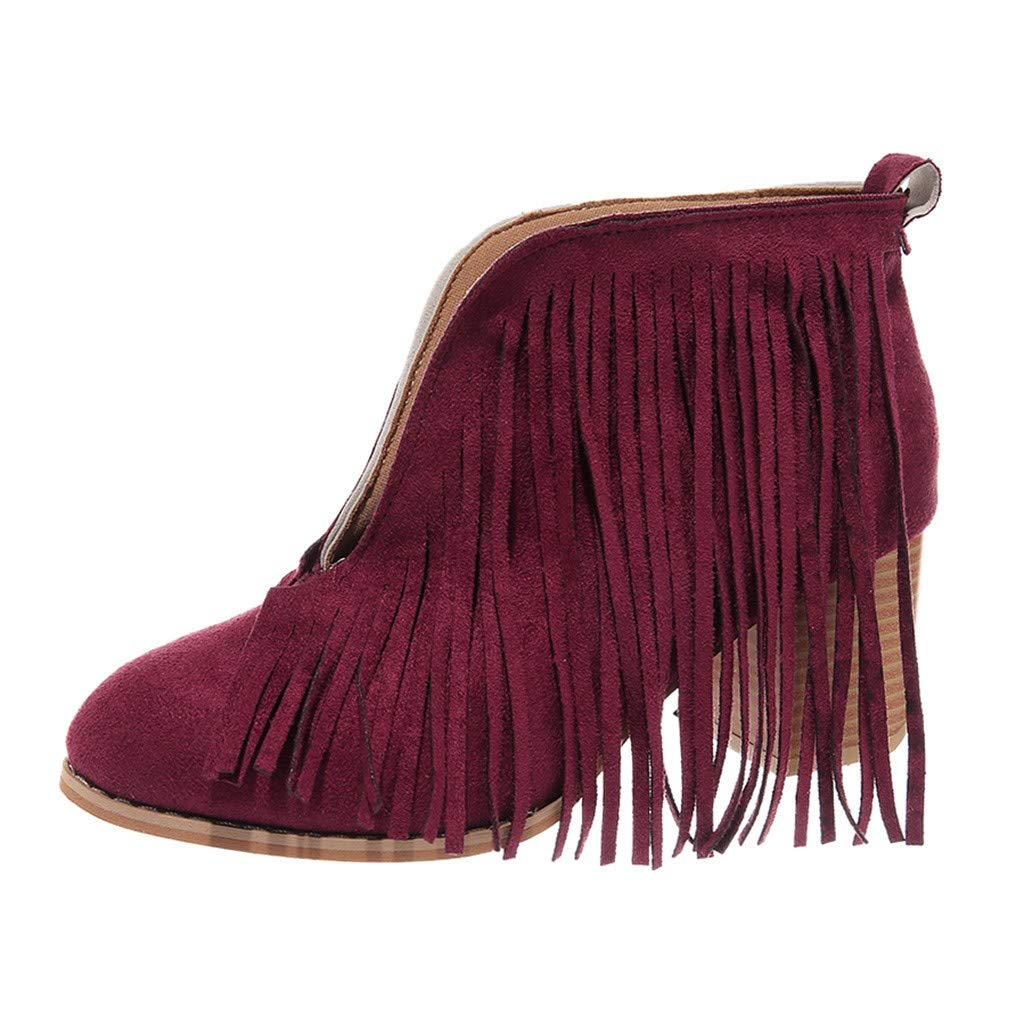 Kauneus Women's Western Fringe Chunky Stacked Heel Ankle Bootie Red