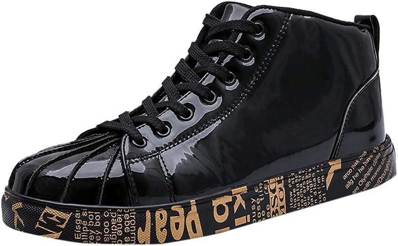 Zapatillas de Moda de Cuero Lacado Alto para Hombre Zapatos ...