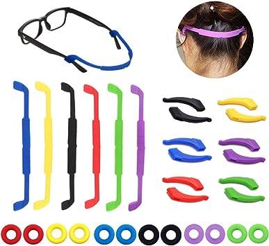 Jurxy 5PCS Cadena de anteojos Soporte de correa flotante de espuma Cord/ón deportivo con cordones de vidrio Collar de cadena Cadena de retenci/ón de gafas Collar largo Accesorios de moda
