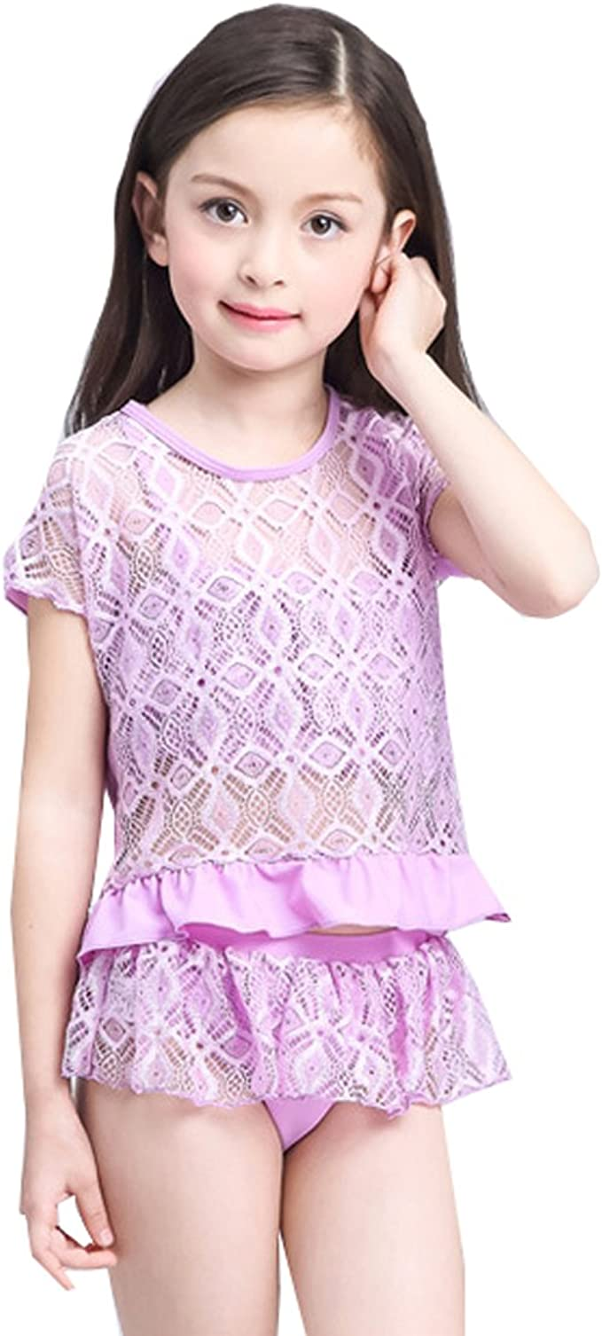 Lilac 6X Jessica Simpson Little Girls Seersucker Two Piece Tankini