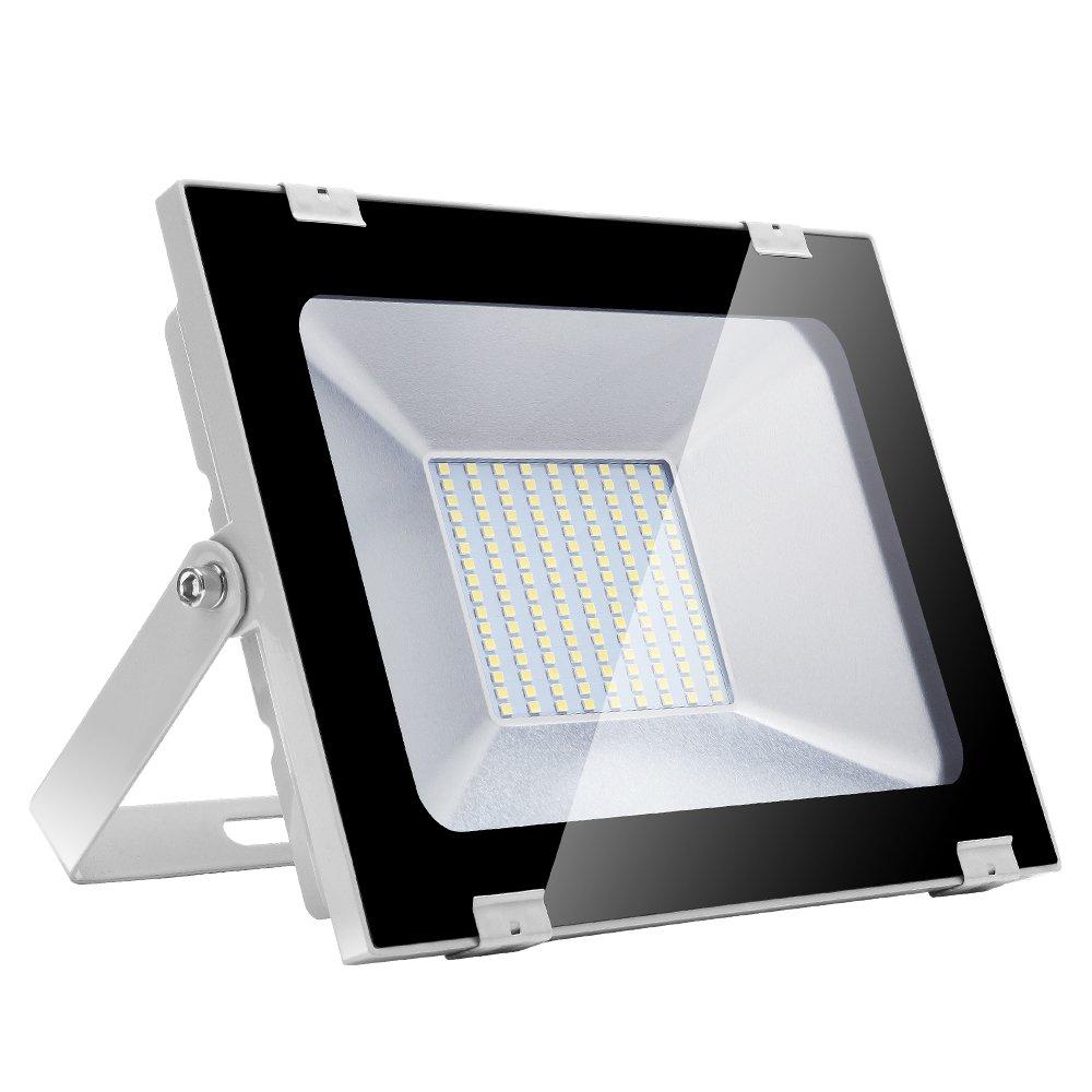 100w Foco Proyector LED de Luz Blanca para Exteriores, IP65 de lo Impermeable, aluminio extruido de aviación(cuerpo) + vidrio(máscara), 144 Pcs SMD2835 LED Bombillas, 8000lm Yuanline