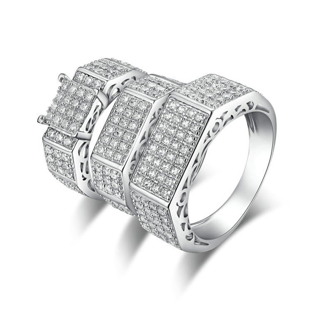 Epinki 925 Sterling Silver Men'S Ring Engagement Rings Square Cubic Zirconia Threefach-Rings Size 10.5