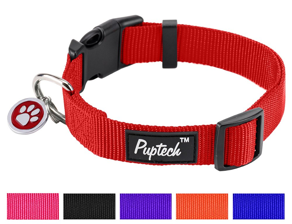 Red L (14.5-20 inches) Red L (14.5-20 inches) PUPTECK Large Dog Collar Nylon Adjustable with ID Tags for Medium Big Pets 14.5 -20