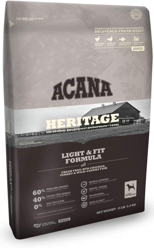 ACANA Heritage Light & Fit Formula Grain Free Dry Dog Food 4.5 Pounds