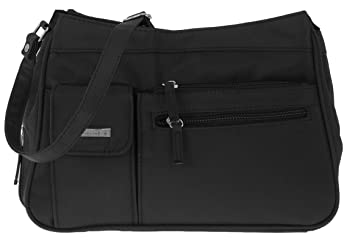 8fe5cccb3def9 Handtasche ALESSANDRO SEVILLA Umhängetasche Schultertasche Damentasche  Microfaser Tasche 4555 + Schlüßeletui (Balck-Schwarz)