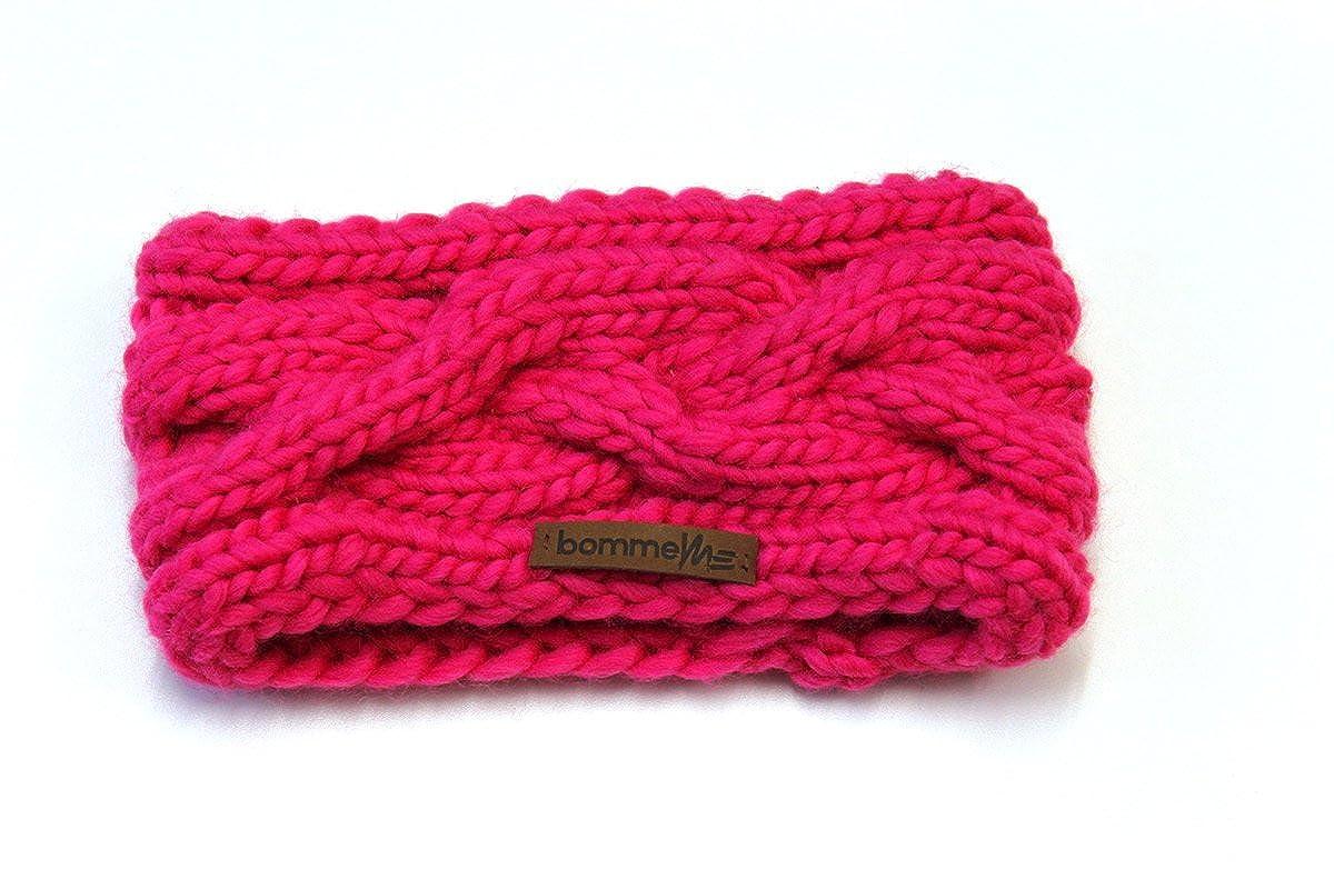 bommelME Stirnband Handmade kuschlig warmes Wollstirnband mit Zopfmuster, Strickstirnband aus Merino Wolle, in 4 Farben Farbe: Pink Stirnband_Z_Pink