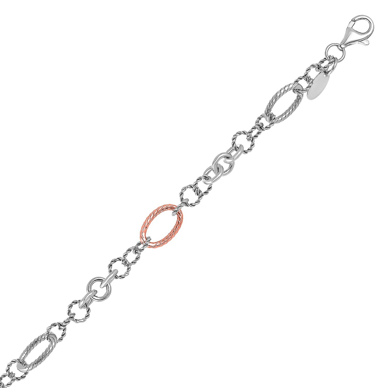18K Rose Gold and Sterling Silver Rope Style Link Bracelet