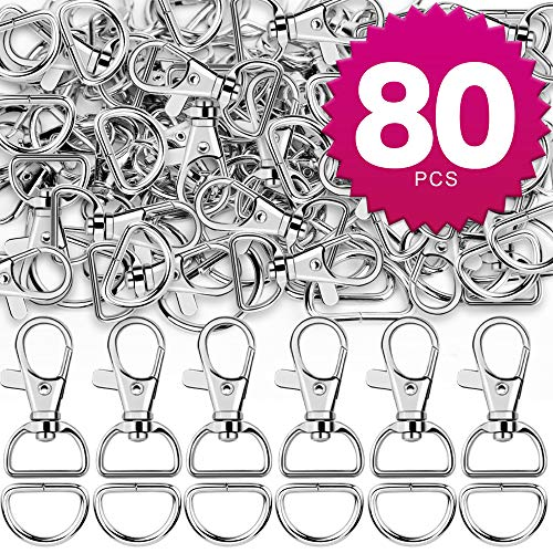 9f617526a84f Teenitor Swivel Snap Hooks, 40Pcs Large Size Keychain Hooks (25mm in ID,  38.5mm in Length) and 40pcs D Rings for Lanyard and Sewing Projects (25mm  in ...