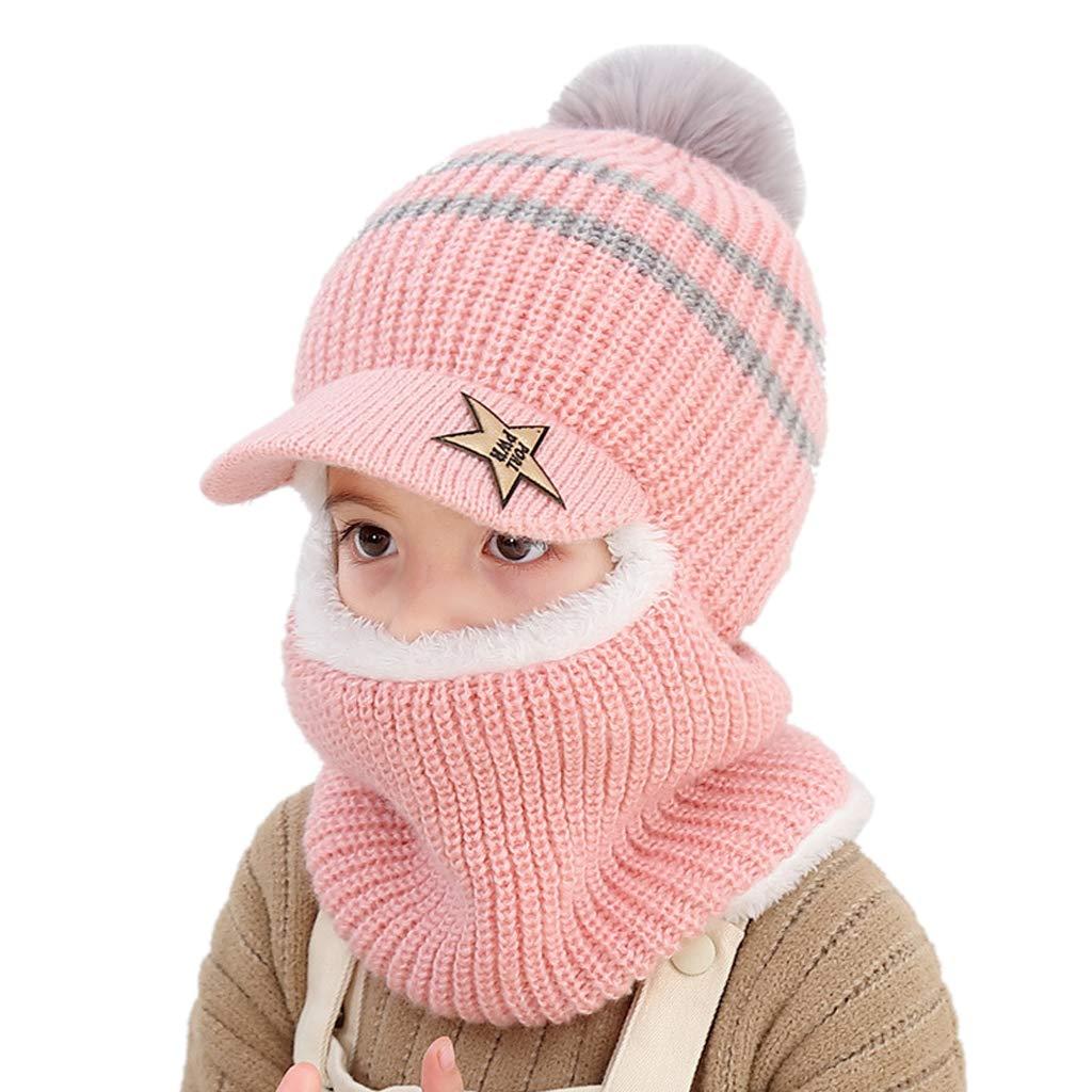 Yanhonin Baby Girls Boys Winter Warm Earflap Hat Lined Hat Wadding Hat 2-5 Years Burgundy