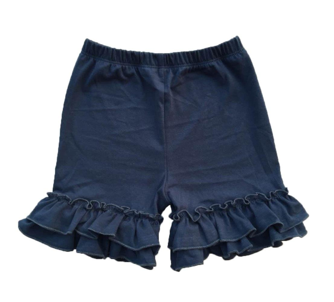 Coralup Baby & Little Girls Ruffles Cotton Shorts P6089_Navy(XXXL,6-7Y)