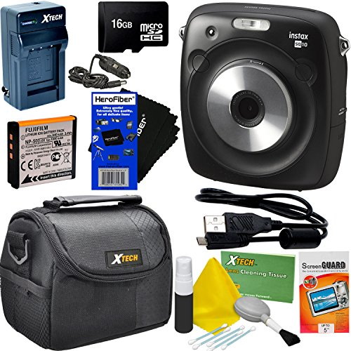 Fujifilm Instax Square SQ10 Hybrid Instant Camera + 16GB Memory Card + Protective Carrying Case + 6pc Accessory Kit w/ HeroFiber Ultra Gentle Cleaning Cloth by HeroFiber