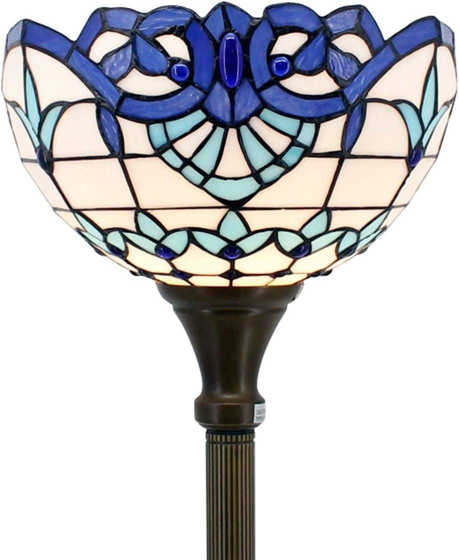 Tiffany Style Torchieres Floor Lamp Table Desk Standing Lighting White Blue Baroque Wide 12 Tall 66 Inch Stained Glass Lampshade for Living Room Bedroom Antique S003B WERFACTORY