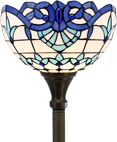 Tiffany Floor Lamp Torchiere Up Lighting W12H66 Inch White Blue Stained Glass Baroque Lampshade Antique Standing Iron Base 1E26 Foot Switch S003B WERFACTORY Lamps Living Room Home Office Decoration