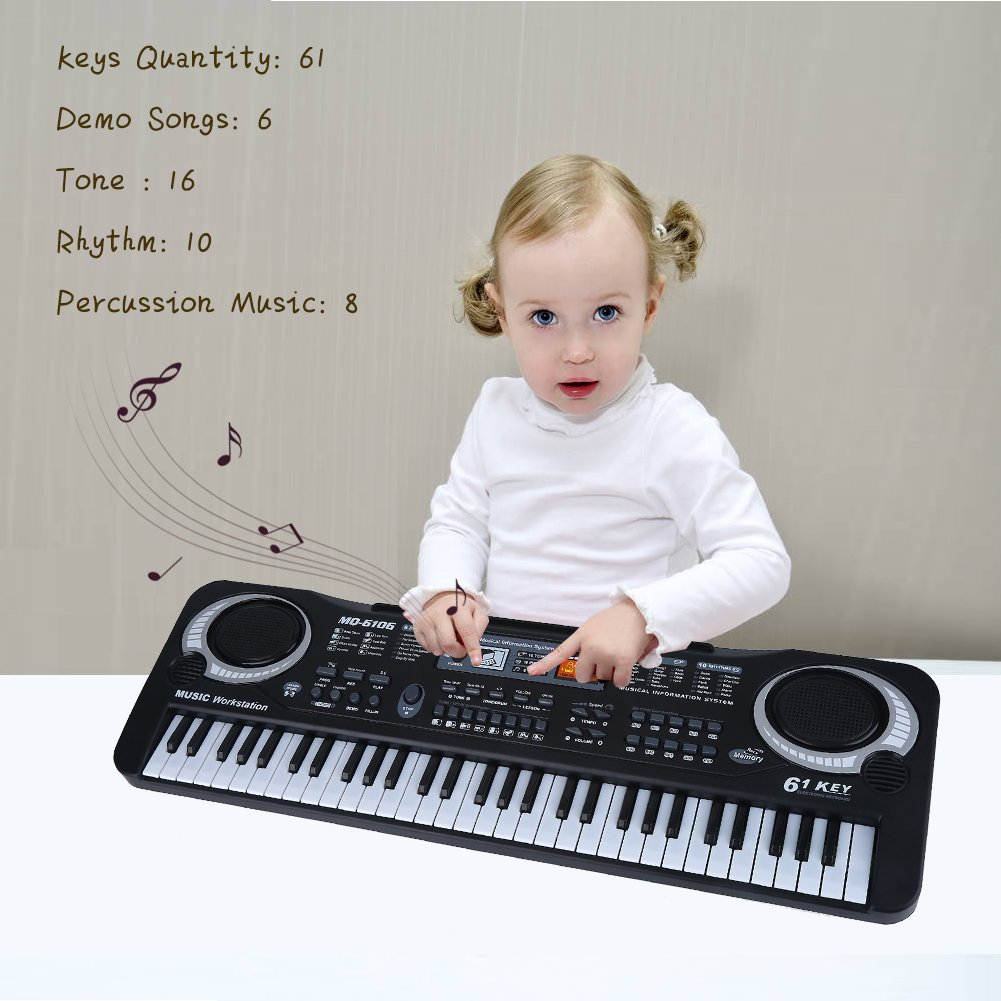 lyrlody Electronic Piano 61 Key Electric Digital Keyboard Piano with Microphone Portable Musical Instruments Toy for Adults Kids Children Boy Girl by lyrlody (Image #7)