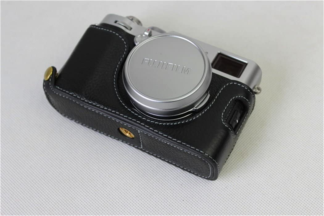 BolinUS Handmade Genuine Real Leather Half Camera Case Bag Cover for Fujifilm X100F Bottom Opening Version Black Fujifilm X100F Case Hand Strap