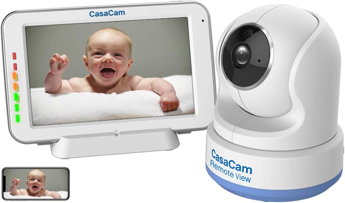 "CasaCam Dual Mode Local & Remote View Baby Monitor with 5"" Touchscreen and HD Pan & Tilt Camera, Secured Phone App, Two Way Audio, Lullabies, Nightlight, Night vision and Temperature Sensor. BM200 Pro"