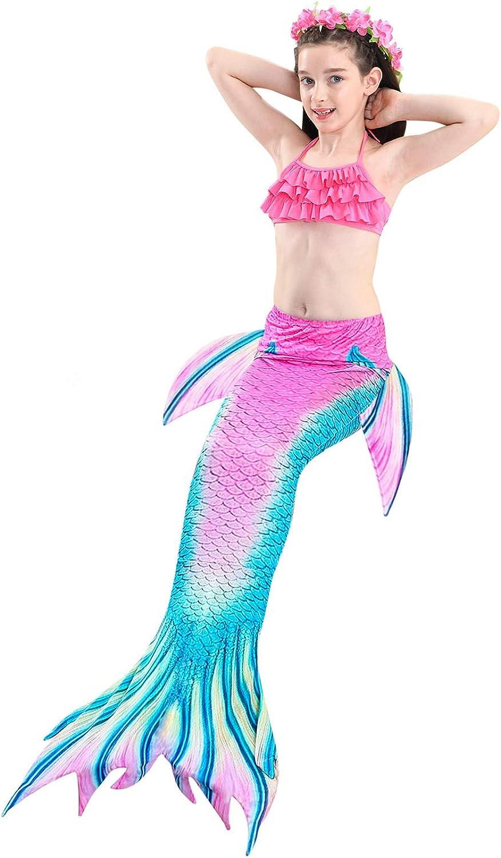 Prinzessin Cosplay Bademode f/ür das Schwimmen mit Bikini Set und Monoflosse DECOOL 2018 M/ädchen Meerjungfrau Schwanz Badeanzug 4 St/ück Set
