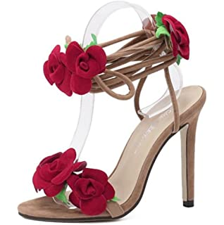 311bddd7f4be6a Frauen Rose Blume Knöchelriemen Party Lace Up Sandalen Schuhe Stiletto High  Heels Damen Peep Toe Abend