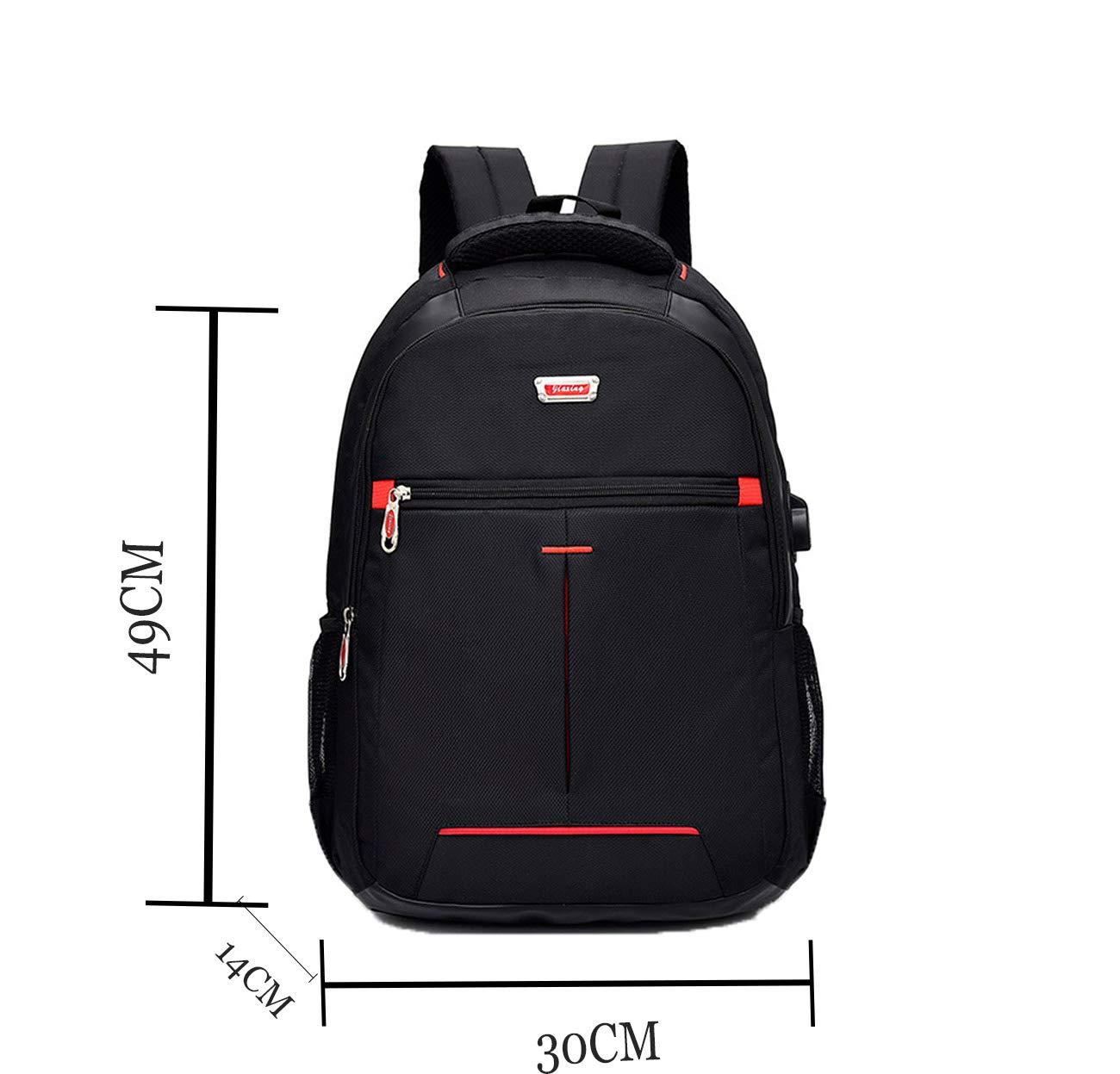 a86008ec39cdd ZSbag Mit USB Jungen Schultasche Unisex Laptop Rucksack Wasserdicht  Schulrucksack Junior Nylon Ranzen Groß Jugendliche Backpack (Schwarz1)   Amazon.de  ...