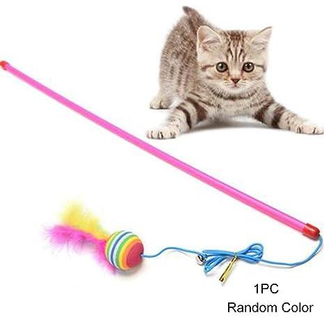 Woopower Juguete interactivo gatos, diseño de campana, pelota de plumas, peluca de plástico