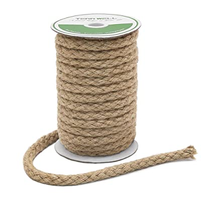 Tenn Well Braided Jute Rope, 32 Feet 11mm Thick Strong Twine Rope for Crafting, Cat Scratching, Gardening, Bundling and Decoration: Office Products