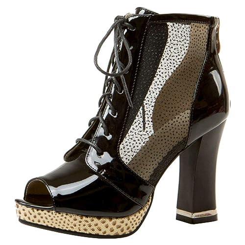 fdea4f88625ec Zanpa Mujer Moda Tacon Ancho Botas Verano Ankle Tacones Altos Cremallera   Amazon.es  Zapatos y complementos