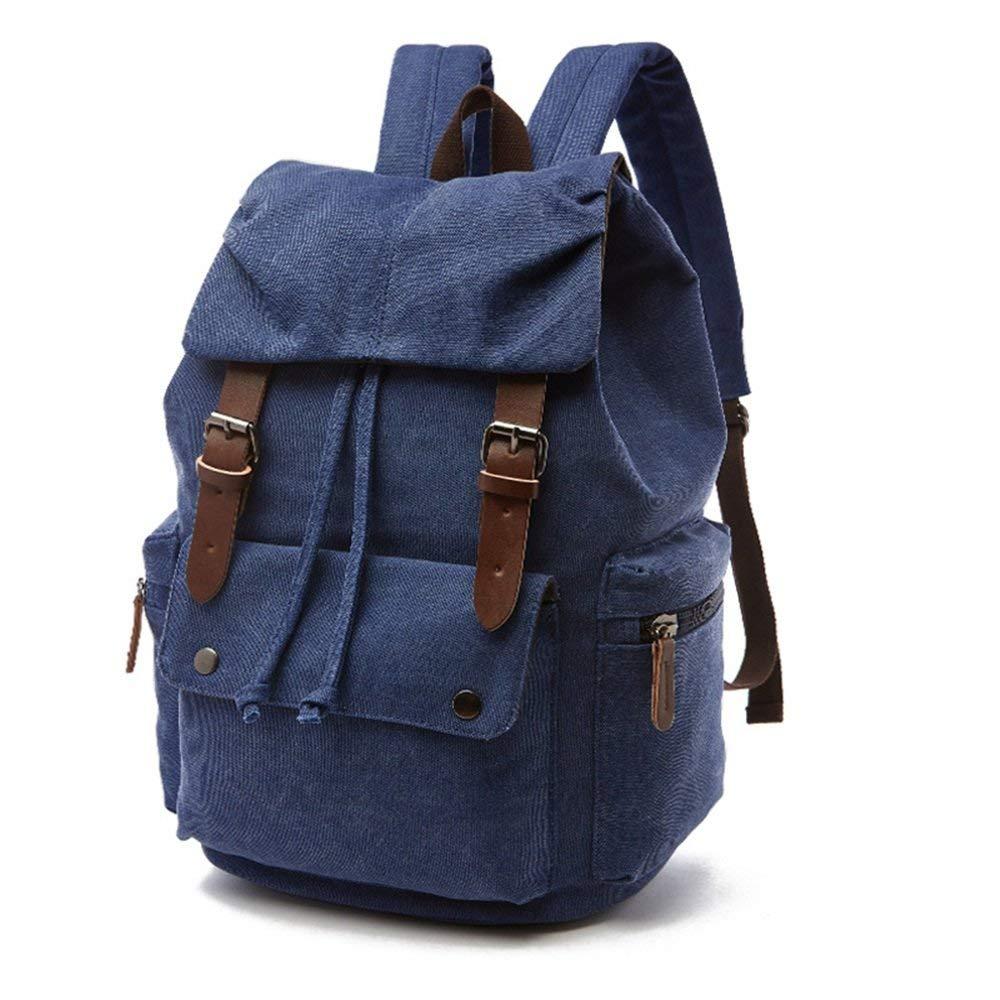 Dark blueee Duffel Bag Casual Satchel Large Compartment Vintage Men Women Backpack Daypack Waterproof Drawstring Canvas Student Outdoor Travel Bags School College Travel Hiking Rucksack (color   Khaki) Gym Bag