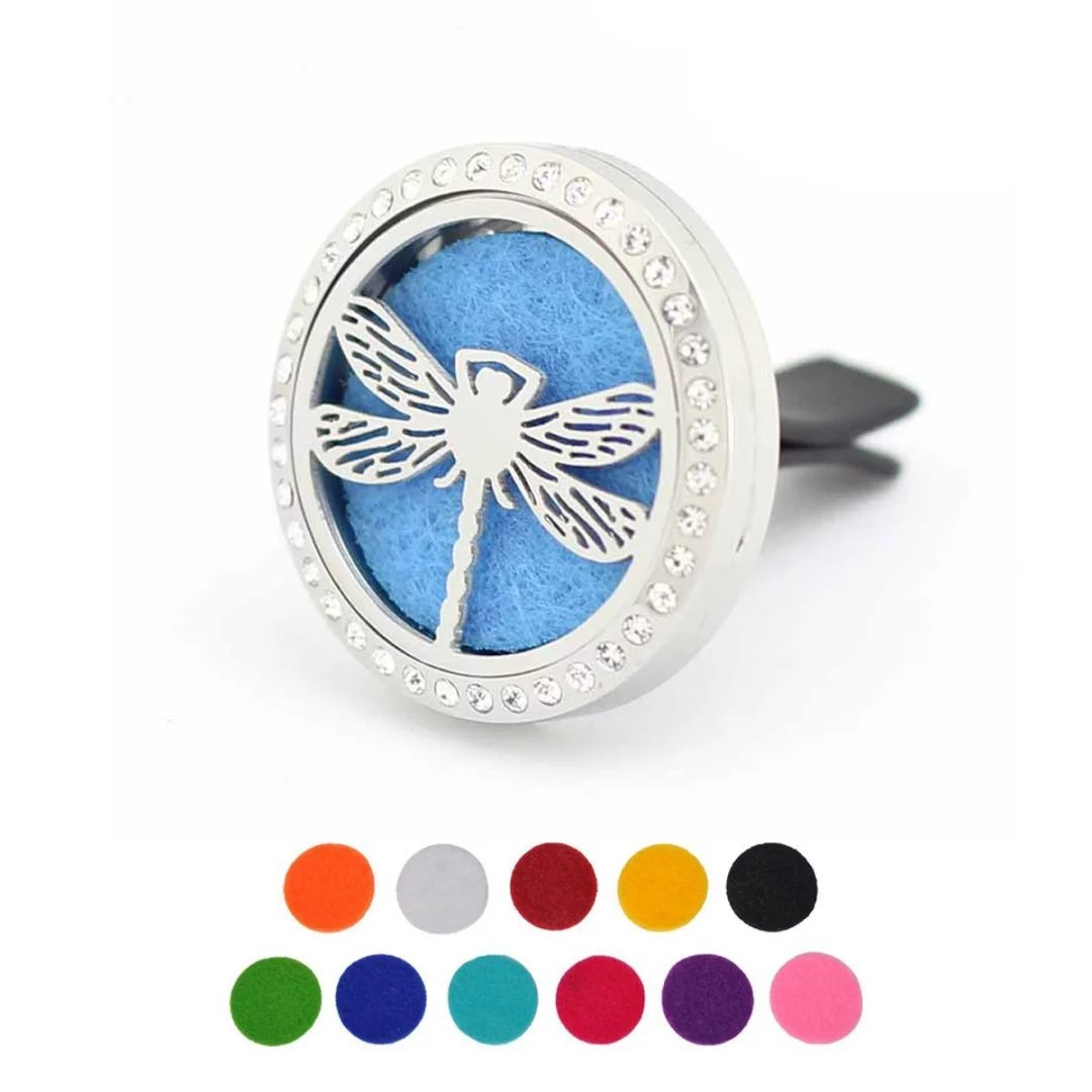 Car Air Freshener Aromatherapy Essential Oil Diffuser, Rhinestones Dragonfly Stainless Steel 30mm Locket, 11 Refill Pads