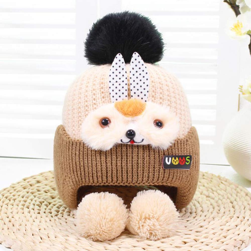 Baby Hat Baby Boy Girls Hats Cute Bear Knit Winter Toddler Fleece Lining Infant Baby Caps Warm Chin Straps