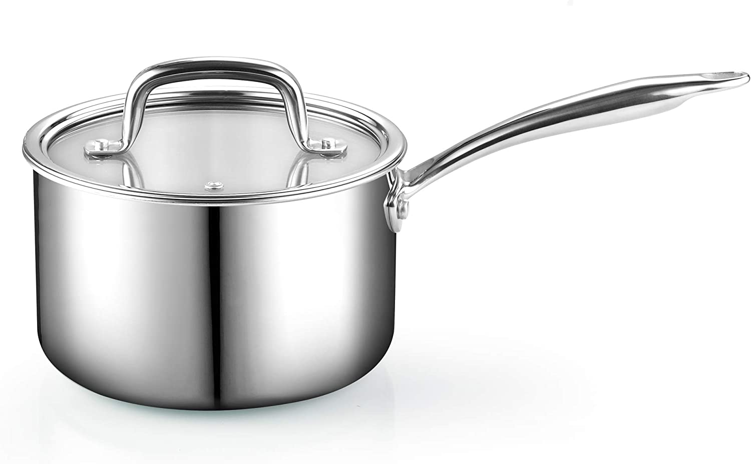10-inch Silver Cook N Home 02682 Tri-Ply Clad Stainless Steel Skillet Saute Fry Pan