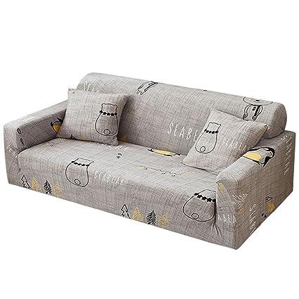 Funda elástica de sofá de 3 y 2 plazas de Powlance, color marrón, crema, funda de sofá de 1/2/3/4 plazas + 2 fundas de almohada, D, 3 seater