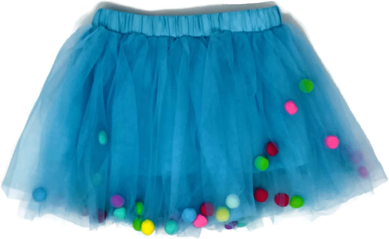Rush Dance Ballerina Girls Dress-up Pom Pom Puff Balls Costume Recital Tutu