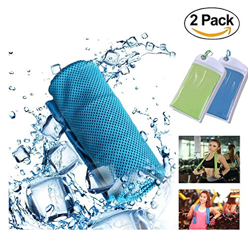 GEJULIC Cooling Towel More Effective Instant Cooling Chilly Cool Ice WetT owel for Sports, Workout, Fitness, Gym, Yoga, Pilates, Travel, Camping & More 2018 Updated Ice Wet Towel by GEJULIC