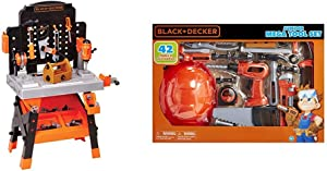 BLACK+DECKER Power Tool Workshop - Play Toy Workbench for Kids with Drill, Miter Saw and Working Flashlight - Build Your Own Tool Box – 75 Realistic Toy Tools and Accessories & Junior Kids Tool Set