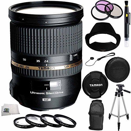 Tamron SP 24-70mm Di VC USD Canon Mount AFA007C-700 (Model A007E) + 10PC Accessory Kit. Includes 3 Piece Filter Kit (UV-CPL-FLD) + 4 Piece Macro Filter Set (+1,+2,+4,+10) + Backpack + MORE by SSE