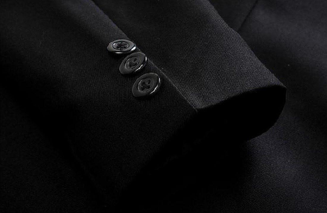 BabyYoung Men Long-Sleeved Button Vogue Lapel Patch Pocket Blazer Dress Suit