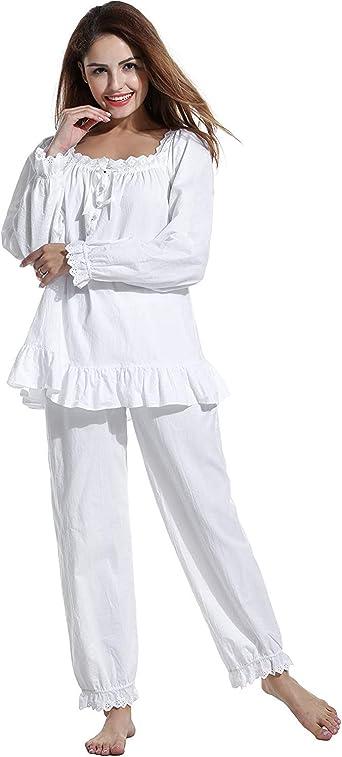 Conjunto de pijama para mujer de algodón vintage victoriano blanco pijama conjunto camisón ropa de dormir: Amazon.es: Ropa y accesorios