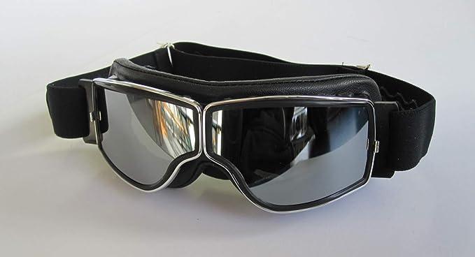 Aviator Motorradbrille T2 Chrom Leder Schwarz Gläser Silber Verspiegelt Auto