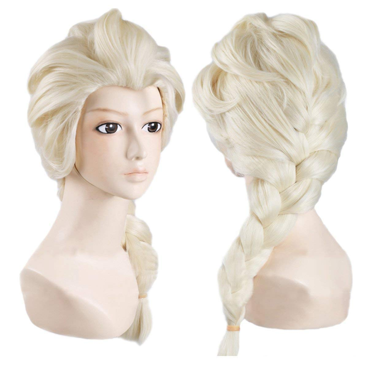 Anime Cosplay Wig for Frozen Snow Queen Elsa, Disney Movie Costume Play, Light Creamy-white French Braid Wig & Mesh Wig Cap, for Daily/Party/Halloween Wig; WIG019B