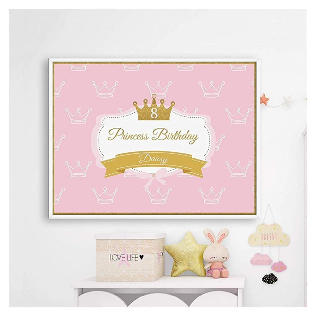 x2 Personalised Birthday Banner Princess Children Party Decoration Poster 30