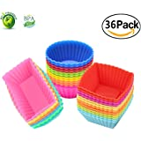 Silicone Cupcake Muffin Baking Cups Liners 36 Pack Reusable Non-Stick Cake Molds Sets
